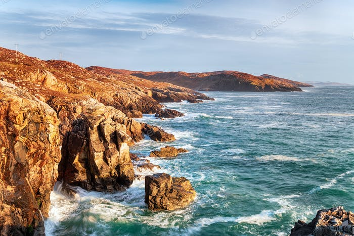 Rugged cliffs at Hushinish on the Isle of Harris