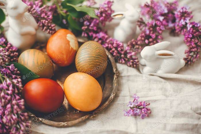 Natural dyed easter eggs and spring flowers