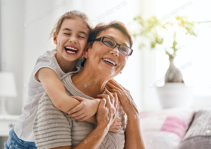 girl and her grandmother