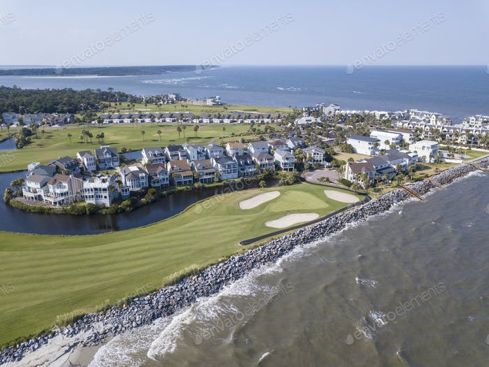 Aerial view of exclusive golf community on the Atlantic coast of