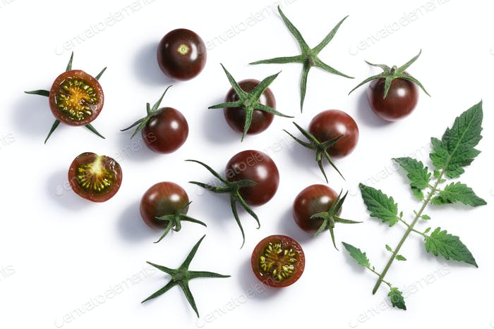 Tondo nero cherry tomatoes, paths, top view