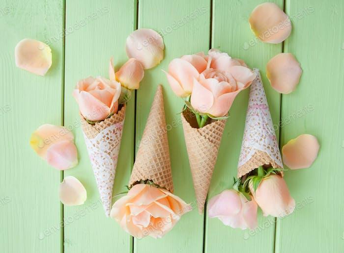 Peach colored roses