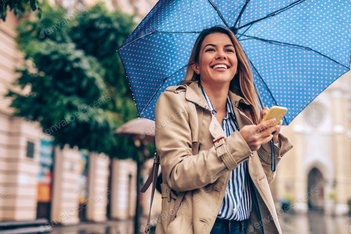SMS an einem regnerischen Tag