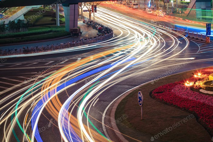 urban road car light trails