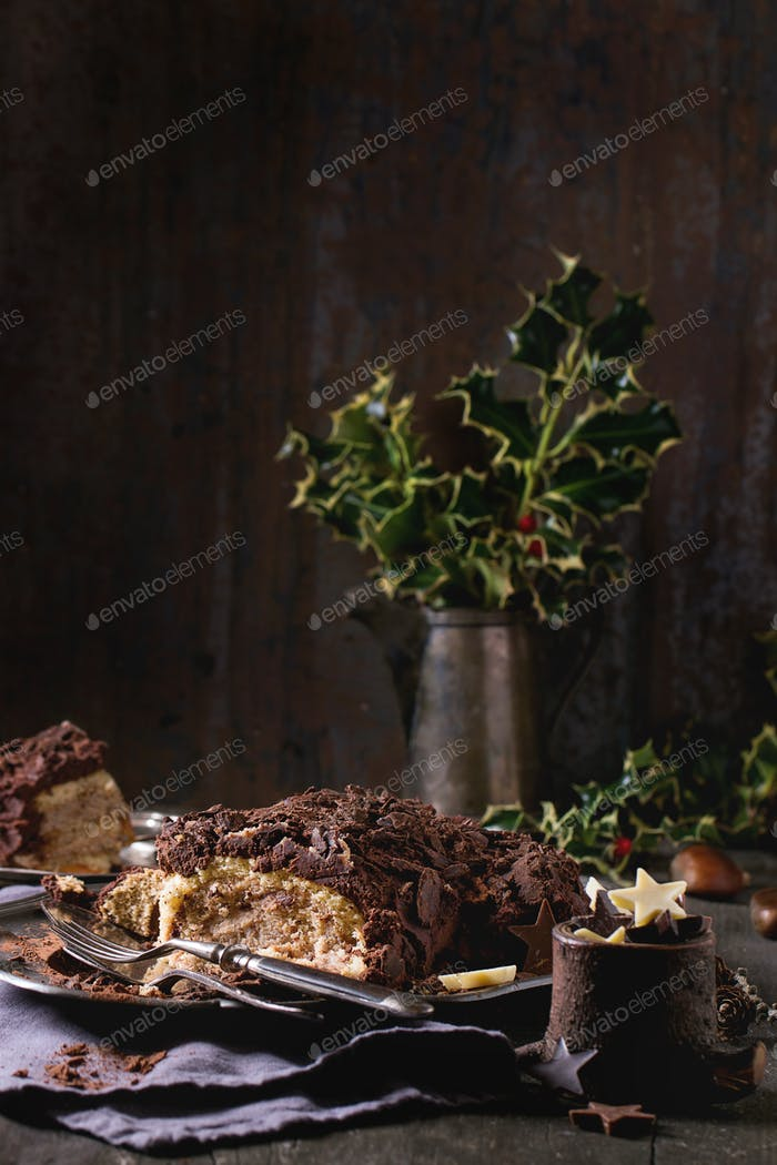 Sliced christmas chocolate yule log