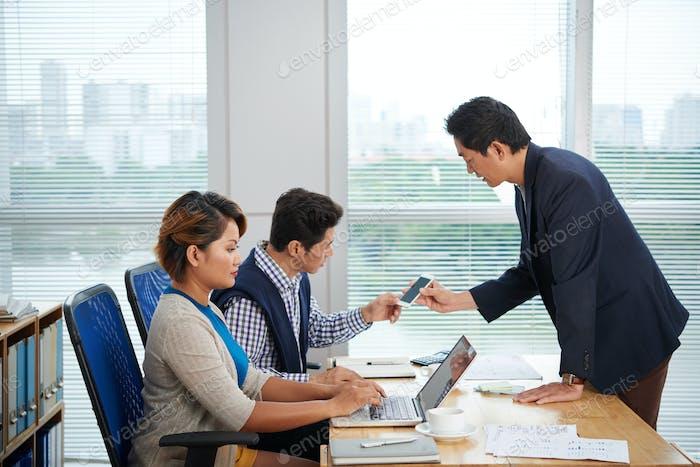 Software Developer Presenting Application to Investors
