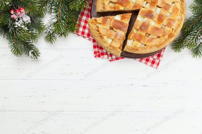 Christmas greeting card with apple pie