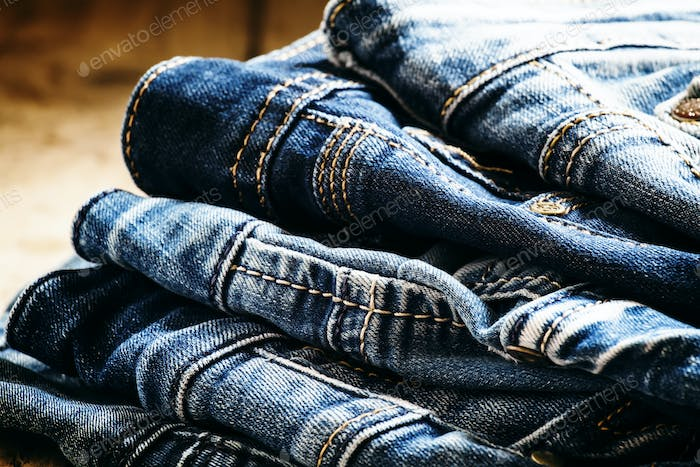 Classic casual blue jeans, pile