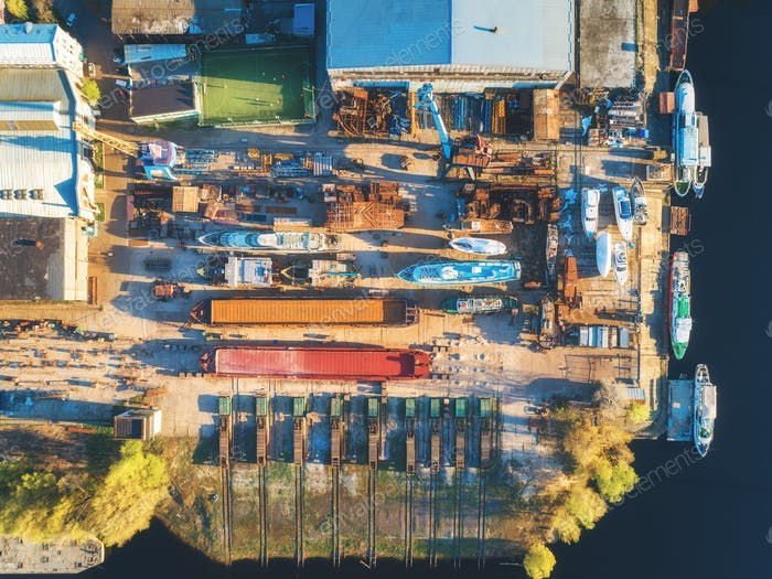 Aerial view of ships and boats in dry dock