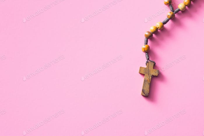 Wooden rosary beads.
