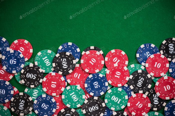 Poker casino chips border background