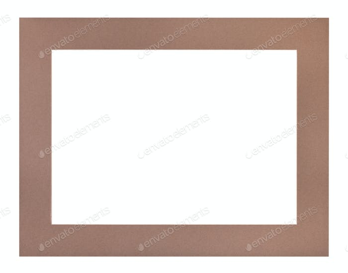 wide flat brown passe-partout for picture frame
