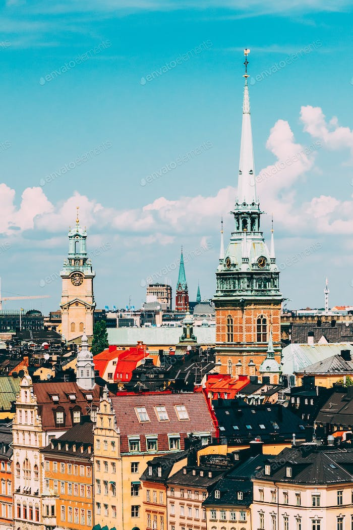Stockholm, Sweden. Historical Center With Tall Steeple Of The Ge