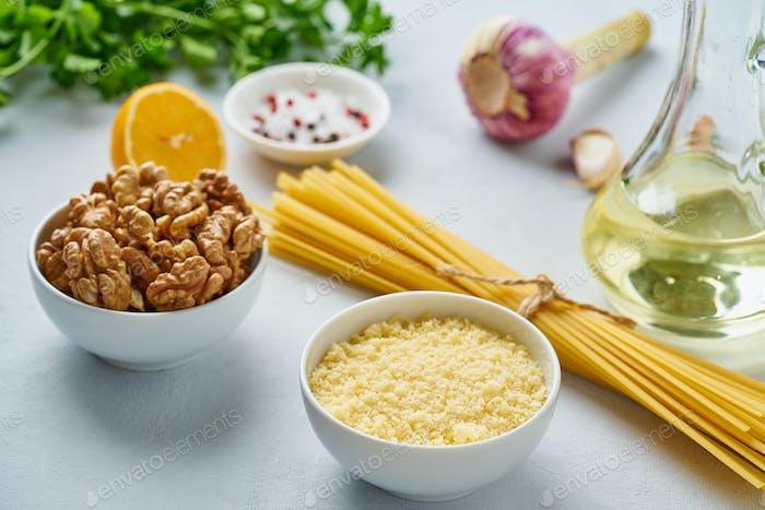 Step by step recipe. Pesto pasta, bavette with walnuts, parsley
