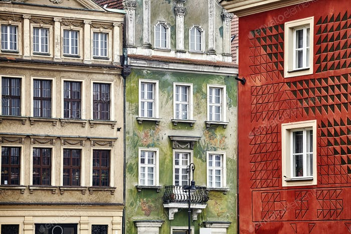 Old buildings facades in Poznan, Poland.
