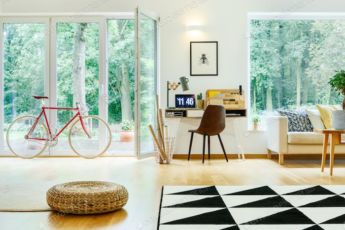 Bike and pouf in room