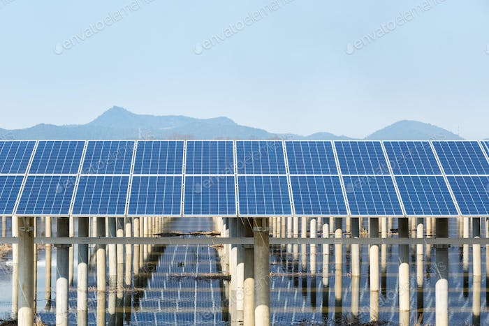 solar energy against blue sky