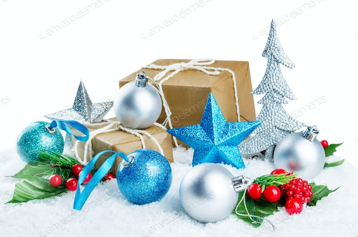 Christmas background with gifts, colored balls and star isolated