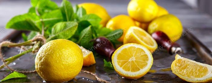 Fresh lemons.Citrus fruits. Antiviral healthy food. Vitamins. Immunity restoration.