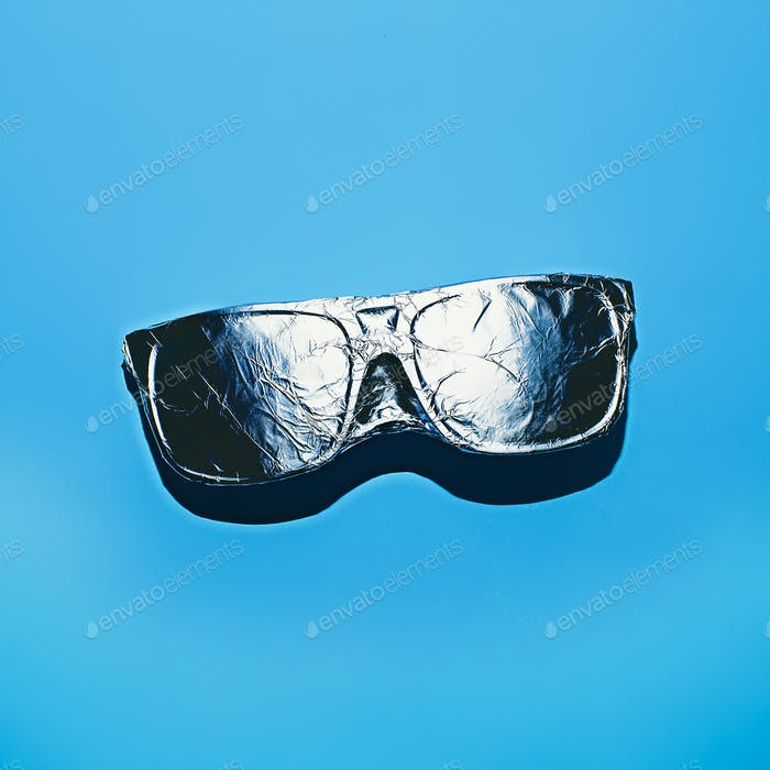 Glasses in aluminum foil. Stillife