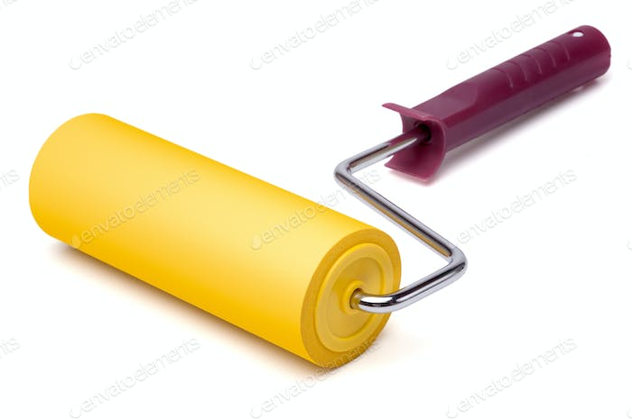 Yellow paint roller, isolated on white background