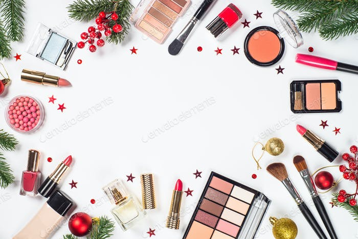 Makeup professional cosmetics with christmas decor