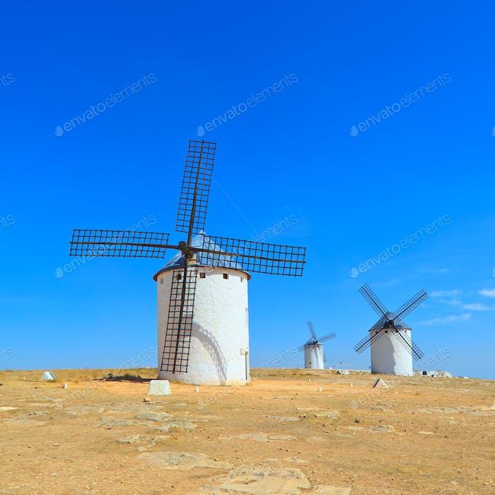 Three windmills. Castile La Mancha, Spain