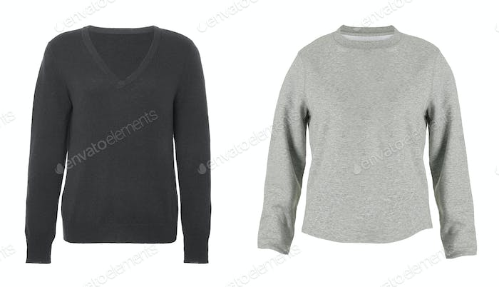 black and white pullovers isolated