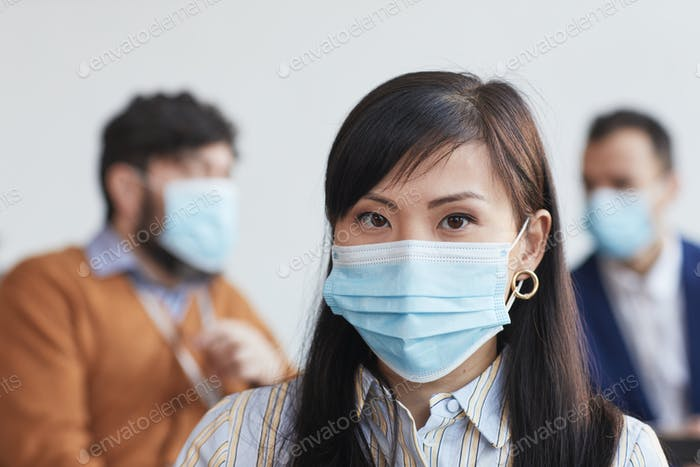 Asian Businesswoman Wearing Mask