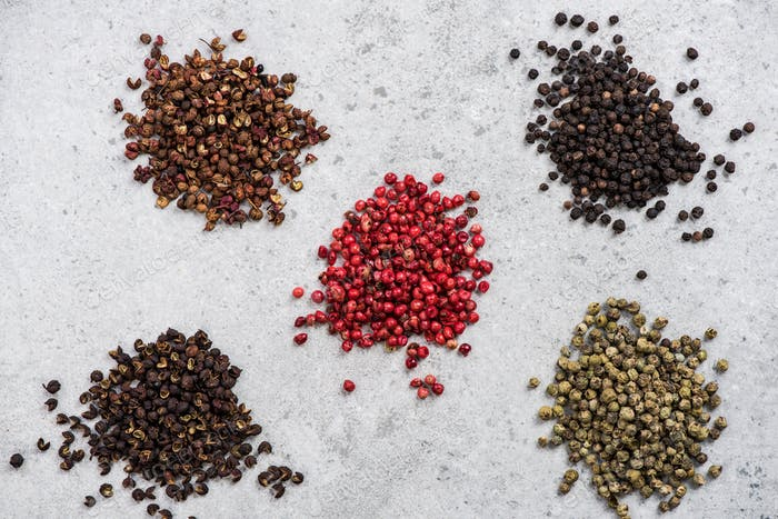 All kinds of pepper seed, spices concept