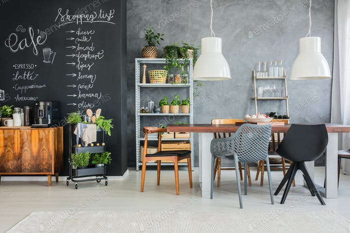 Family table in industrial kitchen