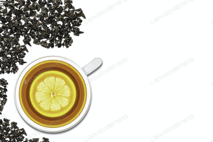 A cup of tea with lemon on a white background. View from above