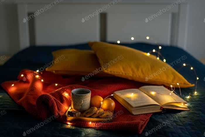 Cozy background for reading book relaxing and reflection. Stay home concept. Christmas decoration