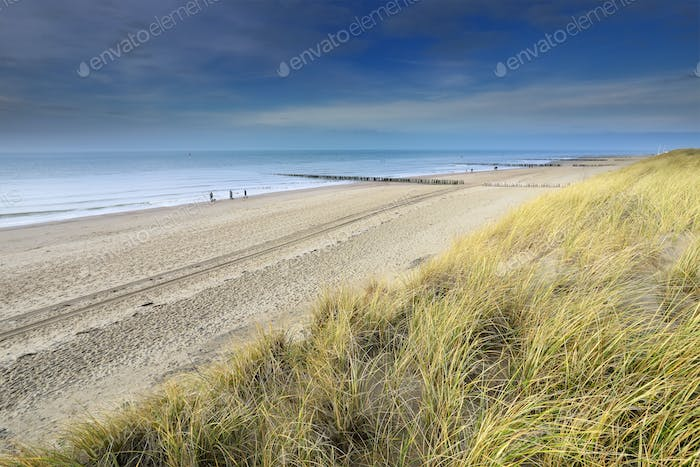 view on North sea sand beach from dune