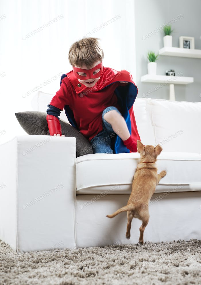 Superhero boy and dog