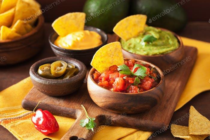 mexican nachos with guacamole, salsa and cheese dip