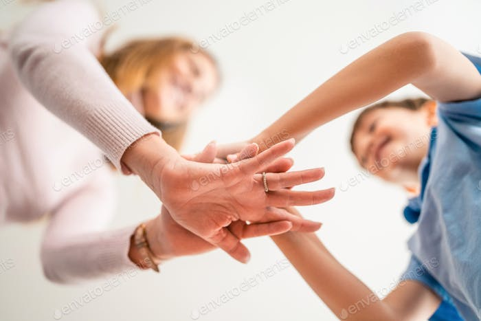 Hands of family together, unity, trust and peace concept