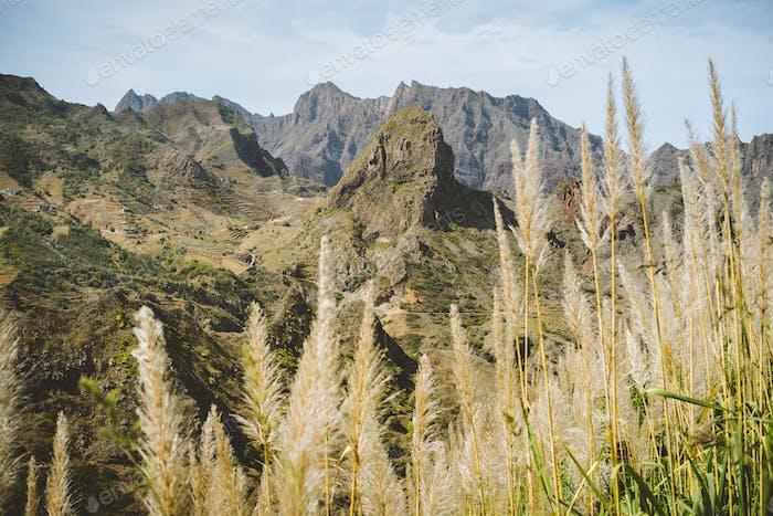 Huge barren mountain peak in dry arid desert landscape. Ribeira Grande. Santo Antao Island, Cape