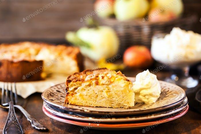Fresh homemade delicious apple cake