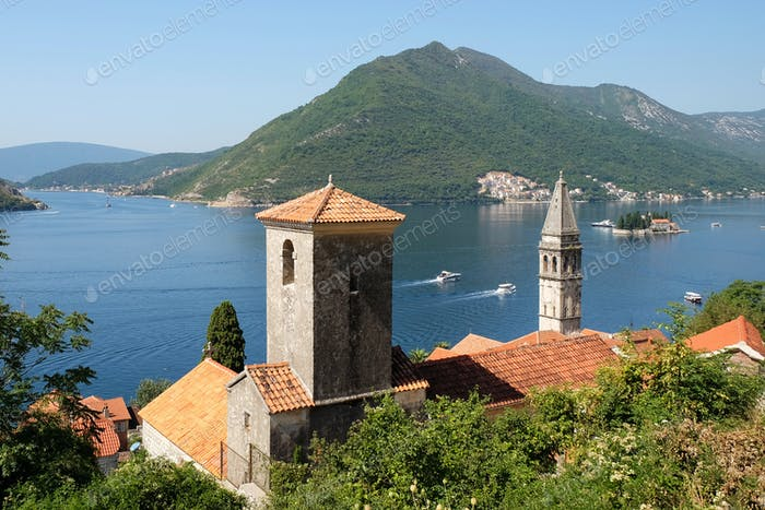 View of town Perast, island of Saint George and Verige Strait in Kotor Bay, Montenegro