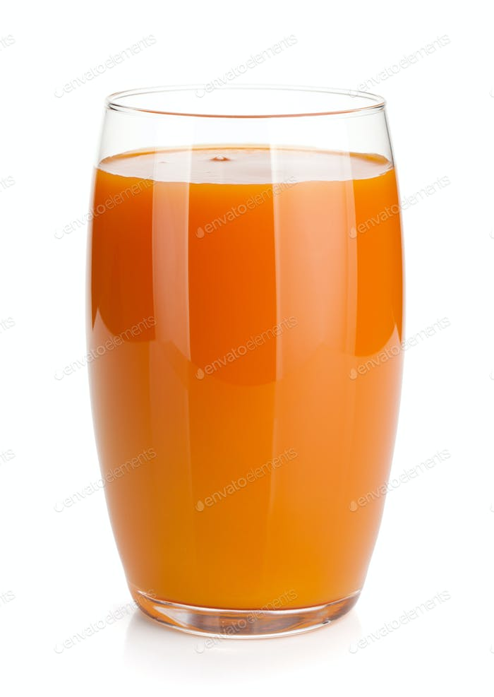 Fresh carrot juice glass
