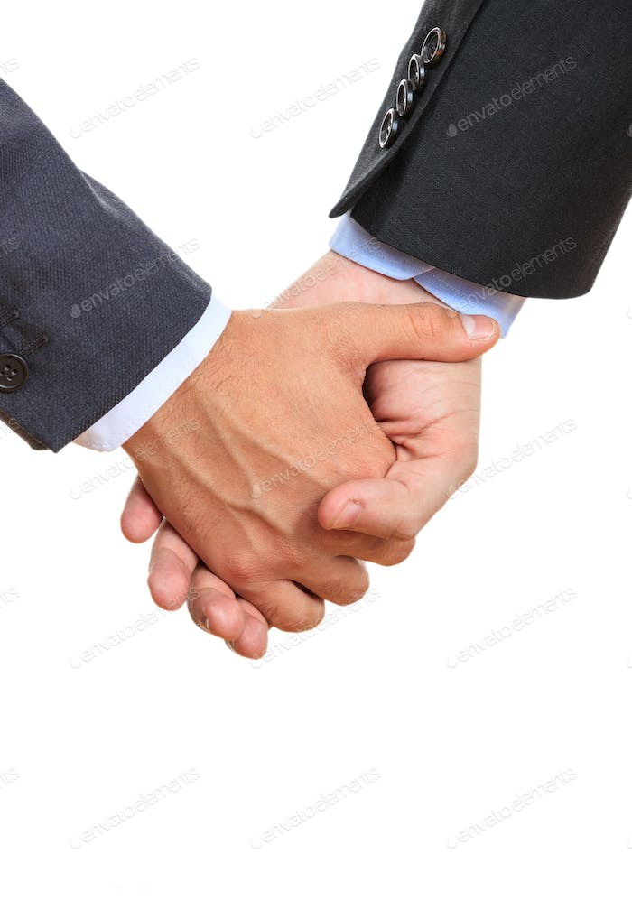 Two men holding hands on white background. Couple of friends or lovers together