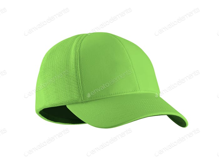 Green Baseball Hat isolated on white background