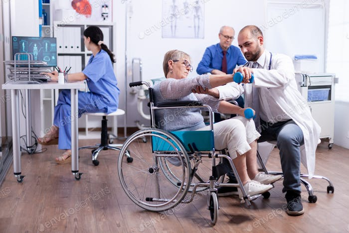 Disabled woman doing recovery