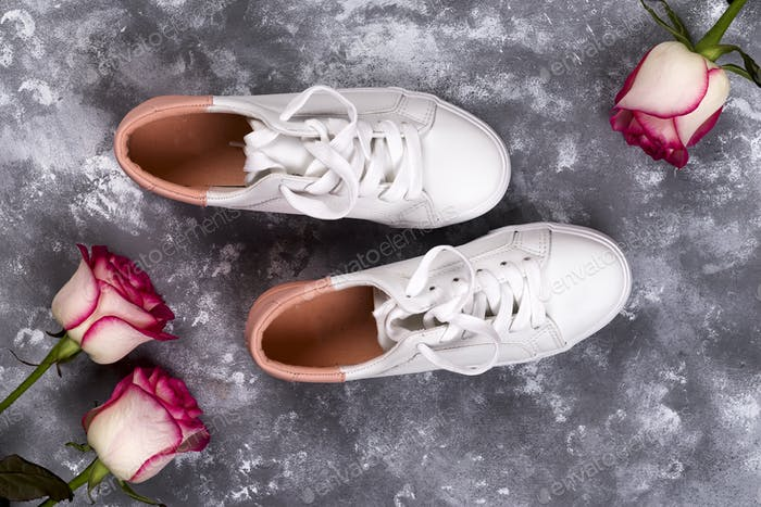 roses and fashionable shoes