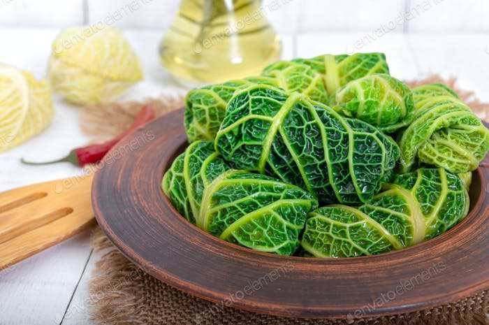 Savoy cabbage dolma in a ceramic bowl. Ducan's diet. Proper nutrition. Close up