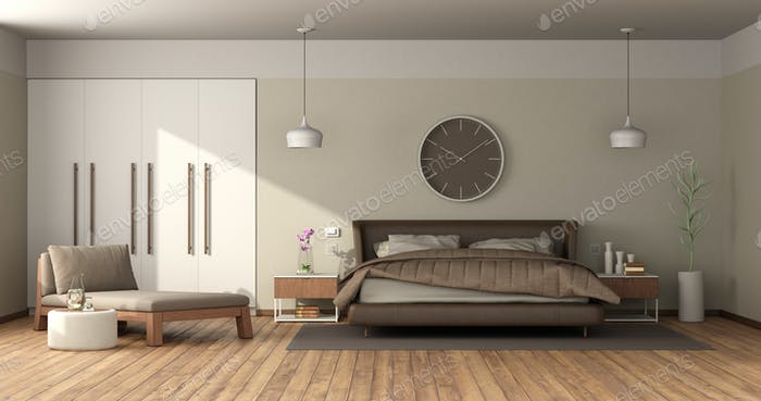 Modern master bedroom with leather double bed