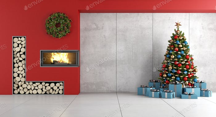 Minimalist Living room with fireplace and christmas tree