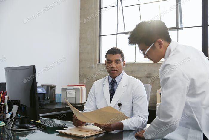 Two male doctors in consultation at desk in office