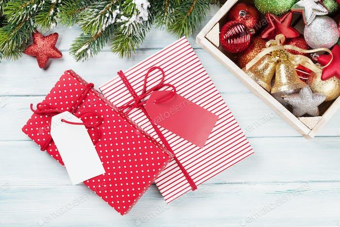 Christmas gift boxes, decor and fir tree